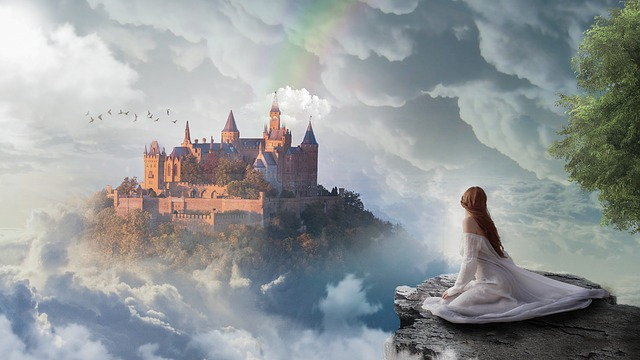 Photo of a girl gazing at a castle in the clouds