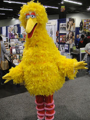 Photo of a cosplayer's big bird costume